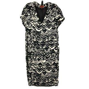 Missoni Dress Black White Print Belted Shift Sz 46